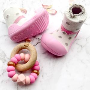 Giầy tập đi Attipas Ballet hồng AB02 - Sỉ giầy cho bé tập đi Hàn Quốc