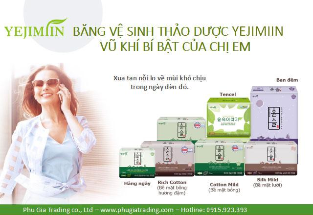 Băng vệ sinh thảo dược Yejimiin - các loại băng vệ sinh Yejimiin - băng vệ sinh tốt