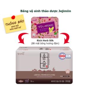 Thay đổi mẫu băng vệ sinh Jejimiin rich herb mild bề mặt bông - Sỉ băng vệ sinh Jejimiin - phugiatrading.com