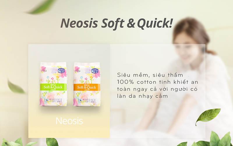 Băng vệ sinh neosi soft&quick, băng vệ sinh siêu thấm, băng vệ sinh ban đêm